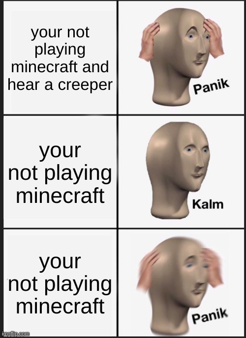 Panik Kalm Panik |  your not playing minecraft and hear a creeper; your not playing minecraft; your not playing minecraft | image tagged in memes,panik kalm panik | made w/ Imgflip meme maker