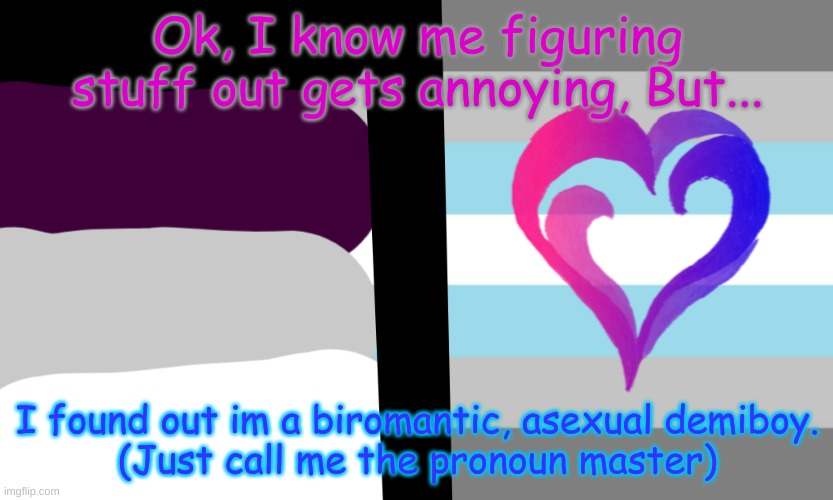Pronoun Master |  Ok, I know me figuring stuff out gets annoying, But... I found out im a biromantic, asexual demiboy. (Just call me the pronoun master) | image tagged in lgbtq,asexual,learn | made w/ Imgflip meme maker