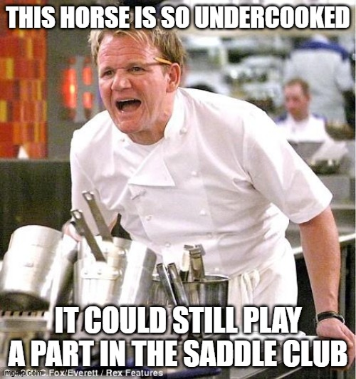 Chef Gordon Ramsay Meme |  THIS HORSE IS SO UNDERCOOKED; IT COULD STILL PLAY A PART IN THE SADDLE CLUB | image tagged in memes,chef gordon ramsay,television,funny,meme,gordon ramsey | made w/ Imgflip meme maker