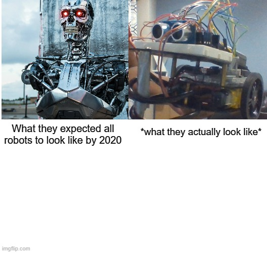 wow robots |  What they expected all robots to look like by 2020; *what they actually look like* | image tagged in robots,terminator,memes,funny | made w/ Imgflip meme maker