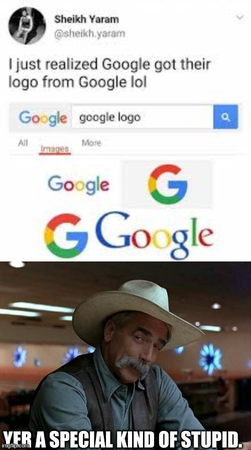 Lemme guess, Bing's logo is from Bing? |  YER A SPECIAL KIND OF STUPID. | image tagged in special kind of stupid | made w/ Imgflip meme maker