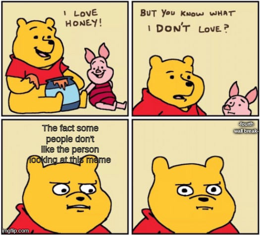It's true- |  -fourth wall break-; The fact some people don't like the person looking at this meme | image tagged in upset pooh | made w/ Imgflip meme maker