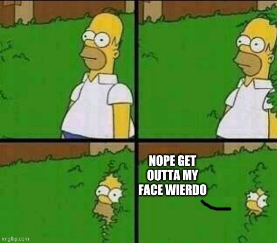 Homer Simpson Nope | NOPE GET OUTTA MY FACE WIERDO | image tagged in homer simpson nope | made w/ Imgflip meme maker