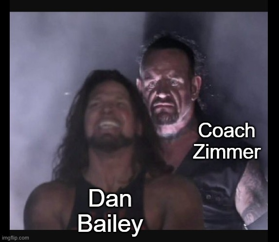 Me thinks the Vikings are looking for a new kicker |  Coach Zimmer; Dan Bailey | image tagged in nfl,football,minnesota vikings,kicking | made w/ Imgflip meme maker