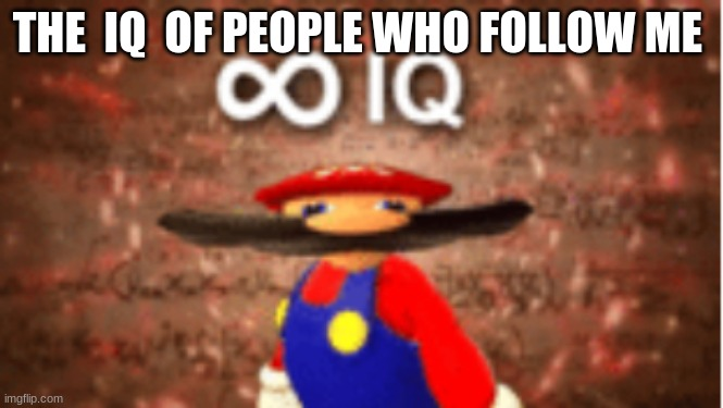 Infinite IQ |  THE  IQ  OF PEOPLE WHO FOLLOW ME | image tagged in infinite iq | made w/ Imgflip meme maker