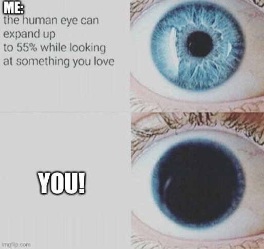 Send this to ur crush |  ME:; YOU! | image tagged in eye pupil expand,memes,crush | made w/ Imgflip meme maker