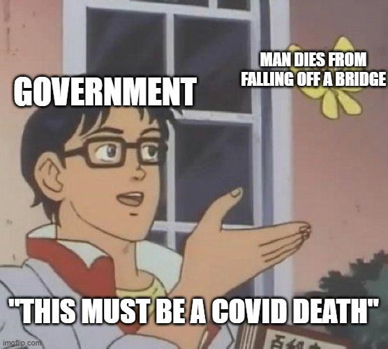 "Is This A Pigeon Meme | GOVERNMENT MAN DIES FROM FALLING OFF A BRIDGE ""THIS MUST BE A COVID DEATH"" 