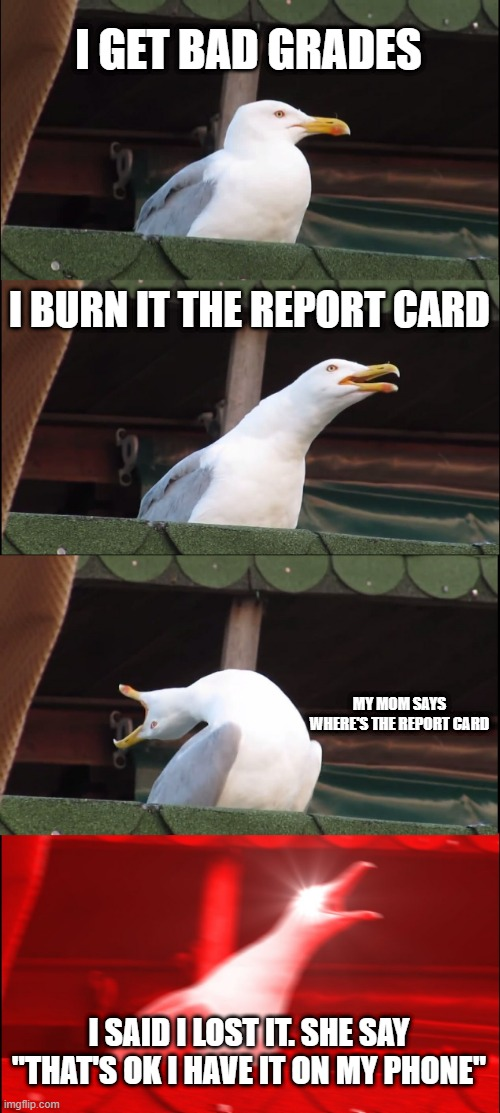 "Na this isn't true |  I GET BAD GRADES; I BURN IT THE REPORT CARD; MY MOM SAYS WHERE'S THE REPORT CARD; I SAID I LOST IT. SHE SAY ""THAT'S OK I HAVE IT ON MY PHONE"" 