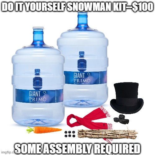 DIY Snowman |  DO IT YOURSELF SNOWMAN KIT--$100; SOME ASSEMBLY REQUIRED | image tagged in diy,snowman | made w/ Imgflip meme maker