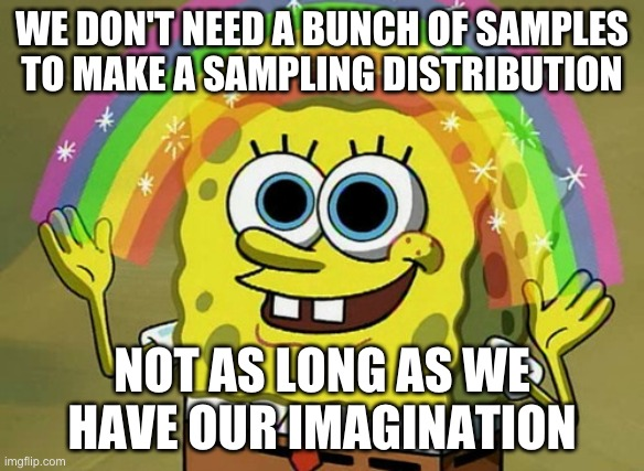 We use our imagination to build a sampling distribution by math, simulation, or bootstrapping.