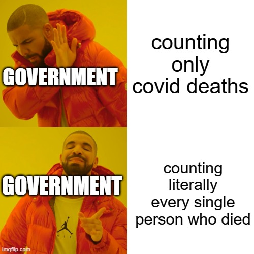 Drake Hotline Bling Meme | counting only covid deaths counting literally every single person who died GOVERNMENT GOVERNMENT | image tagged in memes,drake hotline bling | made w/ Imgflip meme maker