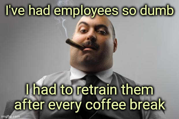 Hard to soar with the Eagles when surrounded by Turkeys |  I've had employees so dumb; I had to retrain them after every coffee break | image tagged in memes,scumbag boss,dumb and dumber,worst,incompetence | made w/ Imgflip meme maker