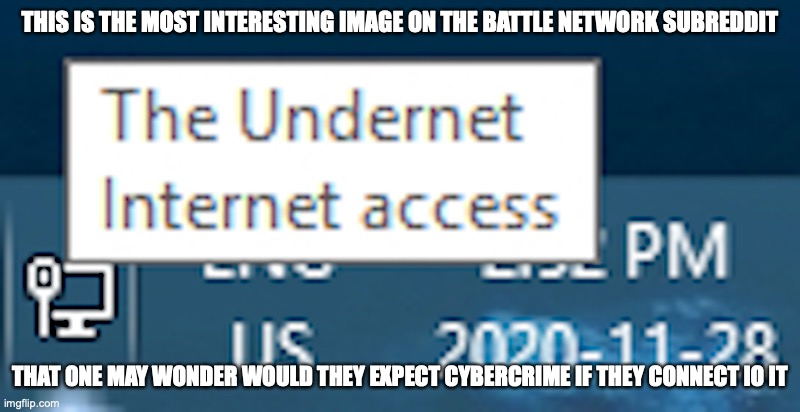 The Undernet |  THIS IS THE MOST INTERESTING IMAGE ON THE BATTLE NETWORK SUBREDDIT; THAT ONE MAY WONDER WOULD THEY EXPECT CYBERCRIME IF THEY CONNECT IO IT | image tagged in internet,megaman,megaman battle network,memes | made w/ Imgflip meme maker