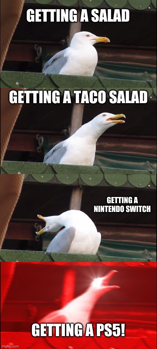 getting stuff be like |  GETTING A SALAD; GETTING A TACO SALAD; GETTING A NINTENDO SWITCH; GETTING A PS5! | image tagged in memes,inhaling seagull | made w/ Imgflip meme maker