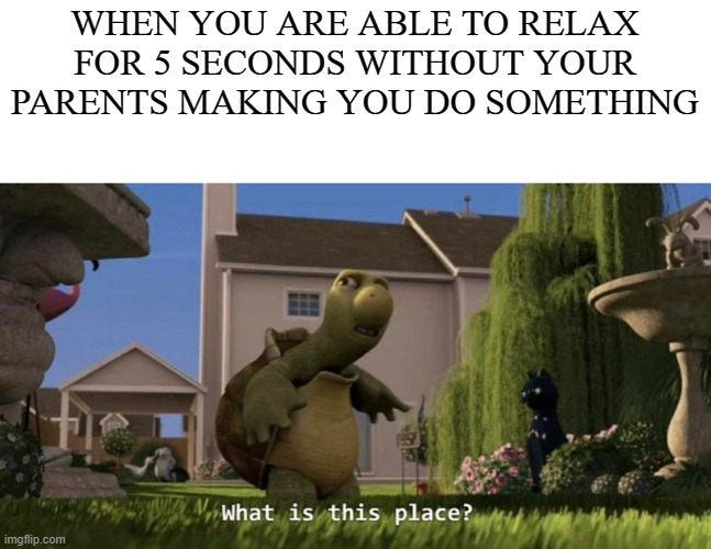 It do be like that |  WHEN YOU ARE ABLE TO RELAX FOR 5 SECONDS WITHOUT YOUR PARENTS MAKING YOU DO SOMETHING | image tagged in what is this place | made w/ Imgflip meme maker