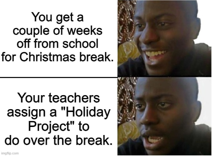 "Christmas Break. |  You get a couple of weeks off from school for Christmas break. Your teachers assign a ""Holiday Project"" to do over the break. 