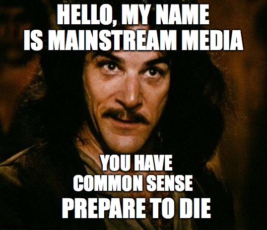 Inigo Montoya |  HELLO, MY NAME IS MAINSTREAM MEDIA; YOU HAVE COMMON SENSE; PREPARE TO DIE | image tagged in memes,inigo montoya | made w/ Imgflip meme maker