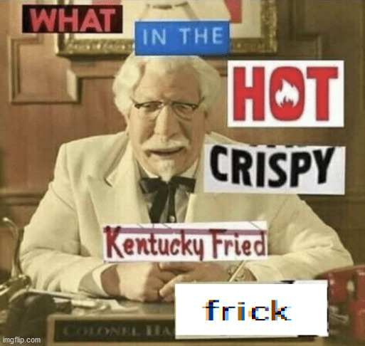what in the hot crispy kentucky fried frick | image tagged in what in the hot crispy kentucky fried frick | made w/ Imgflip meme maker