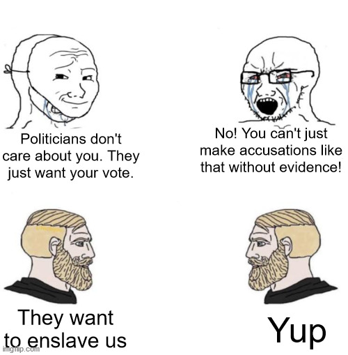 Chad we know |  Politicians don't care about you. They just want your vote. No! You can't just make accusations like that without evidence! They want to enslave us; Yup | image tagged in chad we know,self esteem,self help,politicians suck | made w/ Imgflip meme maker