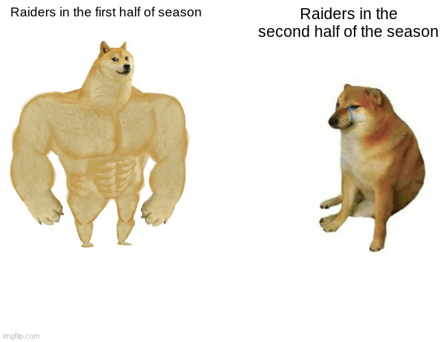 Buff Doge vs. Cheems Meme |  Raiders in the first half of season; Raiders in the second half of the season | image tagged in memes,buff doge vs cheems | made w/ Imgflip meme maker