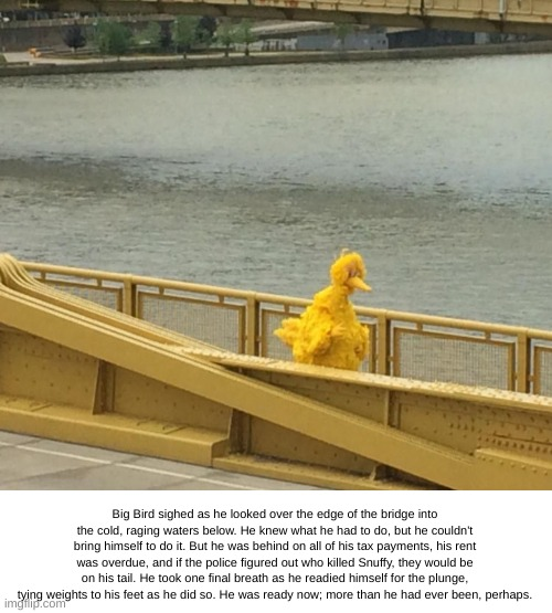 Big Bird's Final Thoughts |  Big Bird sighed as he looked over the edge of the bridge into the cold, raging waters below. He knew what he had to do, but he couldn't bring himself to do it. But he was behind on all of his tax payments, his rent was overdue, and if the police figured out who killed Snuffy, they would be on his tail. He took one final breath as he readied himself for the plunge, tying weights to his feet as he did so. He was ready now; more than he had ever been, perhaps. | image tagged in sad big bird,suicide,bridge,water,snuffy | made w/ Imgflip meme maker