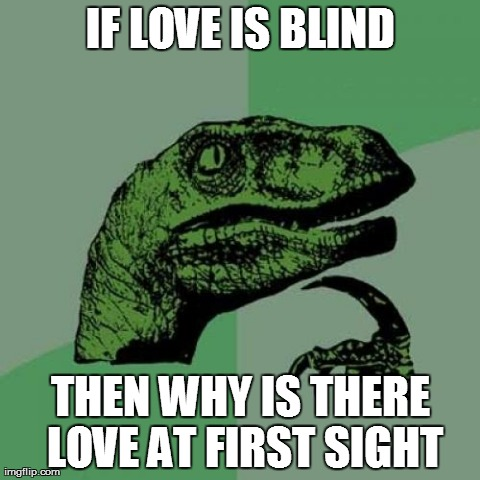 Philosoraptor Meme | IF LOVE IS BLIND THEN WHY IS THERE LOVE AT FIRST SIGHT | image tagged in memes,philosoraptor | made w/ Imgflip meme maker