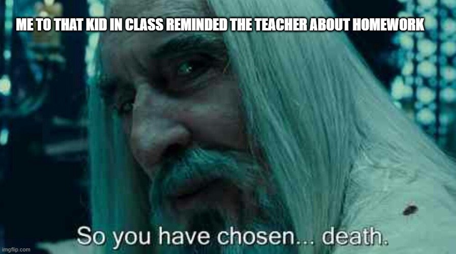 Me |  ME TO THAT KID IN CLASS REMINDED THE TEACHER ABOUT HOMEWORK | image tagged in so you have chosen death,annoying kid,meme,funny | made w/ Imgflip meme maker