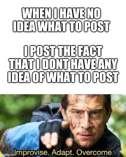 Idk what to post XD |  WHEN I HAVE NO IDEA WHAT TO POST; I POST THE FACT THAT I DONT HAVE ANY IDEA OF WHAT TO POST | image tagged in blank white template,improvise adapt overcome,bear grylls,bear grylls improvise adapt overcome,funny | made w/ Imgflip meme maker