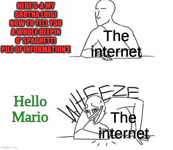 Salutations, fellow sibling that goes by the title: Mario |  HERE'S-A MY BROTHA LUIGI NOW TO TELL YOU A WHOLE HEEPIN O' SPAGHETTI PILE OF INFORMATION'E; The internet; The internet; Hello Mario | image tagged in wheeze,luigi | made w/ Imgflip meme maker