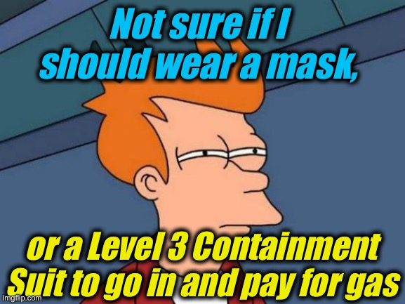 Ridiculousness |  Not sure if I should wear a mask, or a Level 3 Containment Suit to go in and pay for gas | image tagged in memes,futurama fry,evilmandoevil,funny,funny memes | made w/ Imgflip meme maker