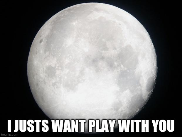 Full Moon | I JUSTS WANT PLAY WITH YOU | image tagged in full moon | made w/ Imgflip meme maker