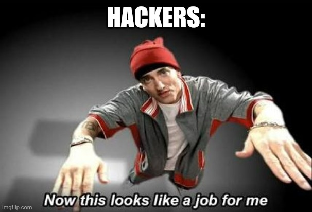 Now this looks like a job for me | HACKERS: | image tagged in now this looks like a job for me | made w/ Imgflip meme maker