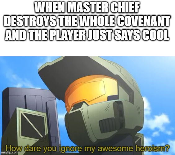 How dare you ignore my awesome heroism? |  WHEN MASTER CHIEF DESTROYS THE WHOLE COVENANT AND THE PLAYER JUST SAYS COOL | image tagged in how dare you ignore my awesome heroism | made w/ Imgflip meme maker