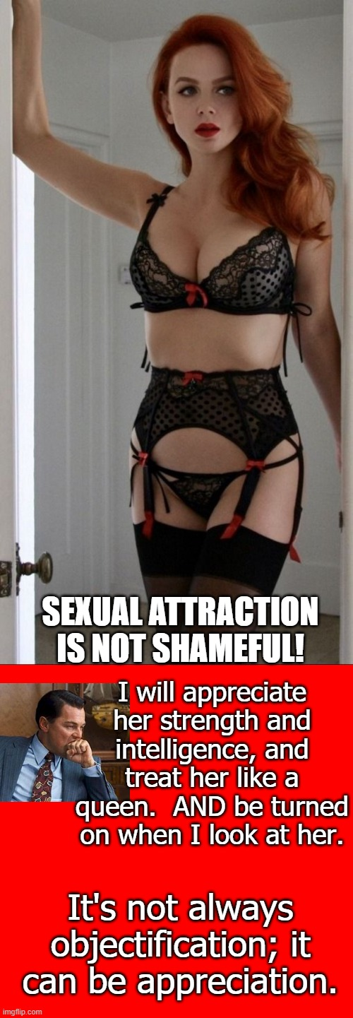 This goes for those who like men also |  SEXUAL ATTRACTION IS NOT SHAMEFUL! I will appreciate her strength and intelligence, and treat her like a queen.  AND be turned on when I look at her. It's not always objectification; it can be appreciation. | image tagged in queen,redheads,sexuality,appreciation | made w/ Imgflip meme maker
