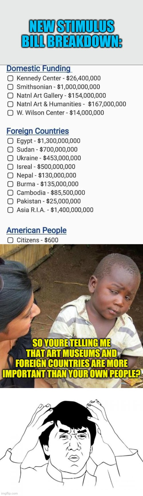 This is putting America First? |  NEW STIMULUS BILL BREAKDOWN:; SO YOURE TELLING ME THAT ART MUSEUMS AND FOREIGN COUNTRIES ARE MORE IMPORTANT THAN YOUR OWN PEOPLE? | image tagged in memes,third world skeptical kid,jackie chan wtf,congress,stimulus,political meme | made w/ Imgflip meme maker