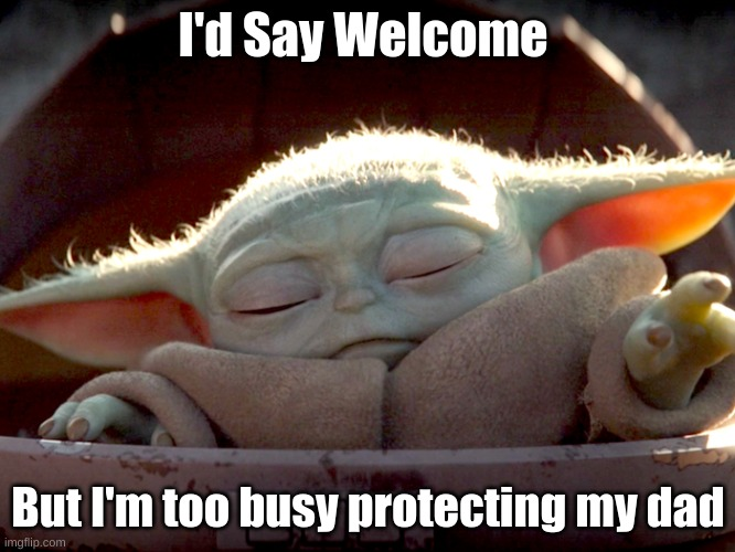 Welcome |  I'd Say Welcome; But I'm too busy protecting my dad | image tagged in baby yoda,the mandalorian | made w/ Imgflip meme maker