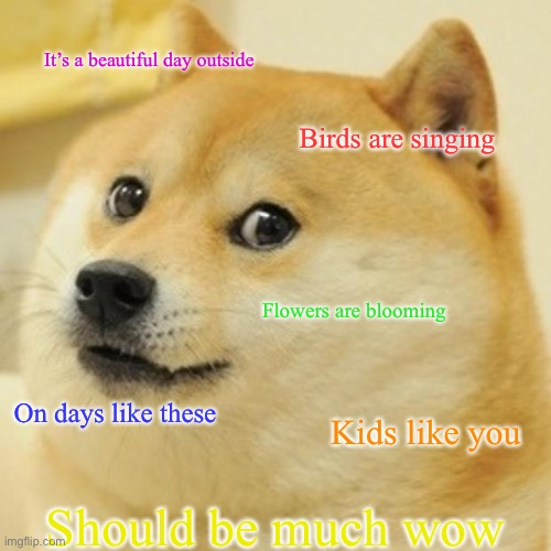 Dogealovania |  It's a beautiful day outside; Birds are singing; Flowers are blooming; On days like these; Kids like you; Should be much wow | image tagged in memes,doge,sans undertale | made w/ Imgflip meme maker