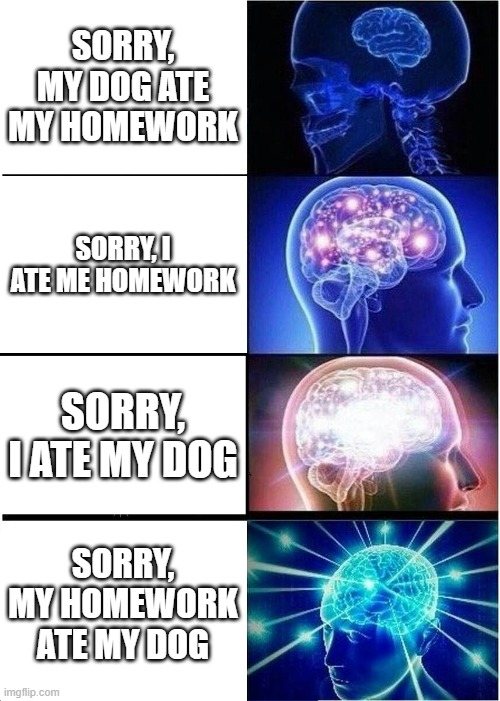 Expanding Brain |  SORRY, MY DOG ATE MY HOMEWORK; SORRY, I ATE ME HOMEWORK; SORRY, I ATE MY DOG; SORRY, MY HOMEWORK ATE MY DOG | image tagged in memes,expanding brain,school meme,dog ate homework | made w/ Imgflip meme maker