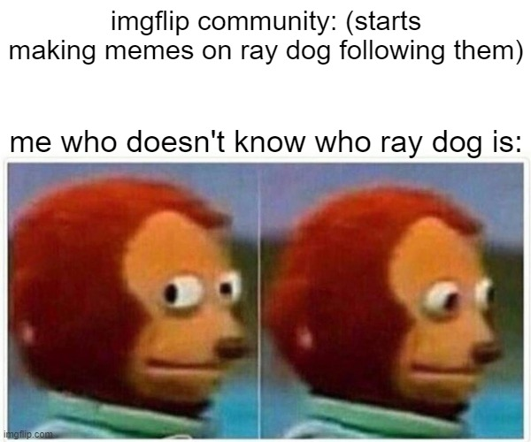 seriously who is he |  imgflip community: (starts making memes on ray dog following them); me who doesn't know who ray dog is: | image tagged in memes,monkey puppet | made w/ Imgflip meme maker