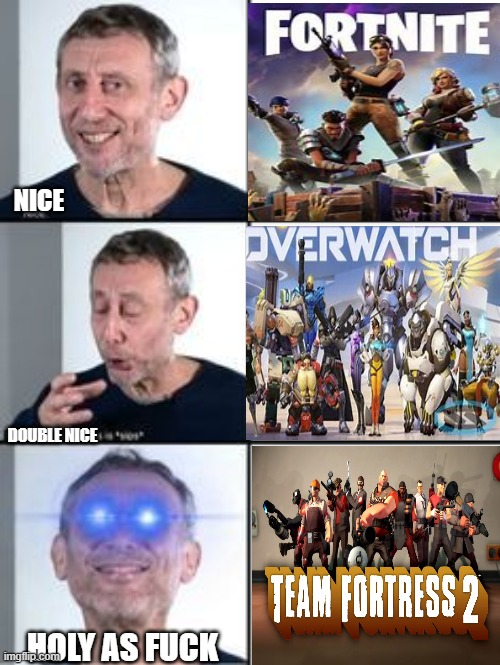 NICE; DOUBLE NICE; HOLY AS FUCK | image tagged in tf2 angry medic | made w/ Imgflip meme maker