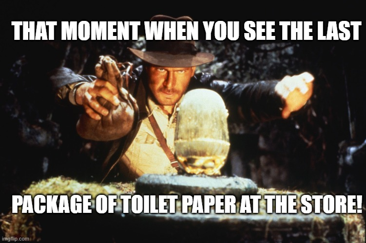 Indiana Jones |  THAT MOMENT WHEN YOU SEE THE LAST; PACKAGE OF TOILET PAPER AT THE STORE! | image tagged in indiana jones | made w/ Imgflip meme maker