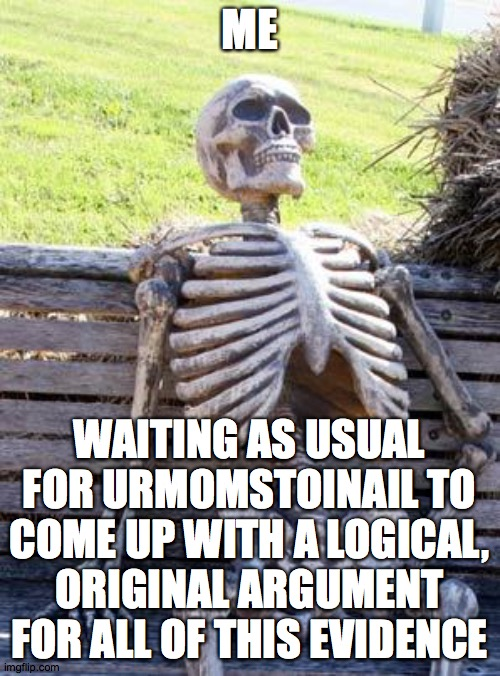 Waiting Skeleton Meme | ME WAITING AS USUAL FOR URMOMSTOINAIL TO COME UP WITH A LOGICAL, ORIGINAL ARGUMENT FOR ALL OF THIS EVIDENCE | image tagged in memes,waiting skeleton | made w/ Imgflip meme maker