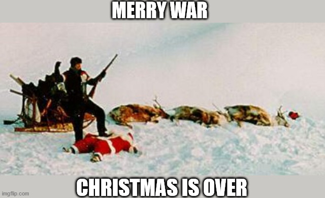 Just kidding! :-) Merry Christmas everyone! |  MERRY WAR; CHRISTMAS IS OVER | image tagged in christmas,john lennon,yoko ono,merry christmas war is over,merry christmas | made w/ Imgflip meme maker