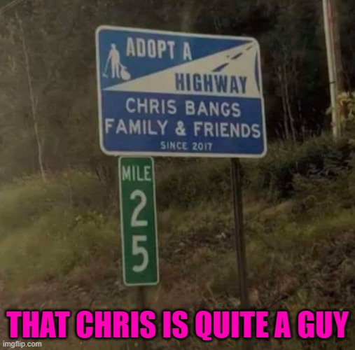 Some guys have it all... |  THAT CHRIS IS QUITE A GUY | image tagged in funny signs,memes,adopt a highway,funny,signs | made w/ Imgflip meme maker
