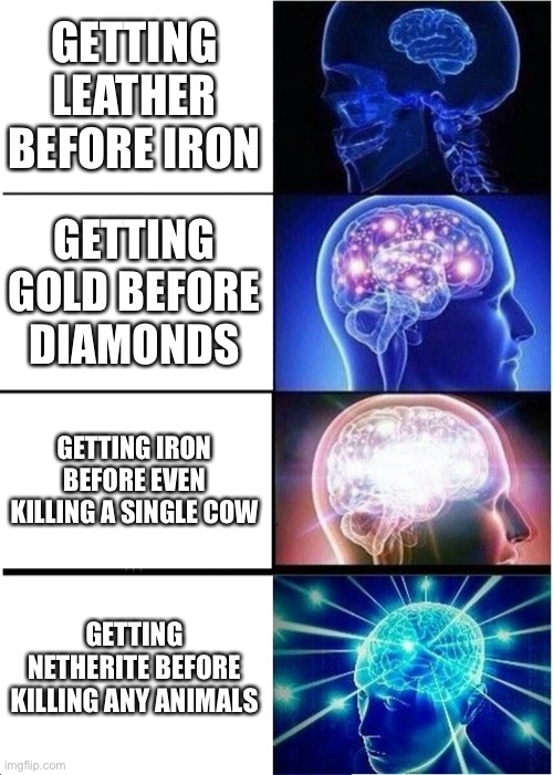 Bigbrain in Minecraft |  GETTING LEATHER BEFORE IRON; GETTING GOLD BEFORE DIAMONDS; GETTING IRON BEFORE EVEN KILLING A SINGLE COW; GETTING NETHERITE BEFORE KILLING ANY ANIMALS | image tagged in memes,expanding brain,vagan | made w/ Imgflip meme maker