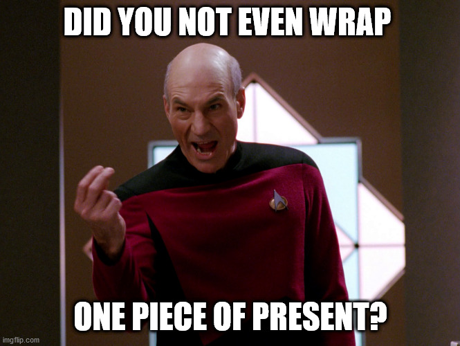 A Picard Christmas |  DID YOU NOT EVEN WRAP; ONE PIECE OF PRESENT? | image tagged in christmas,star trek christmas,picard,patrick stewart | made w/ Imgflip meme maker
