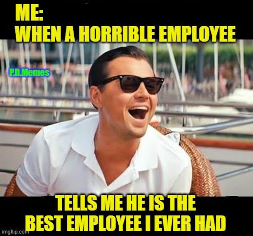 P.D.Memes | image tagged in leonardo dicaprio,funny meme,memes,employees,work,like a boss | made w/ Imgflip meme maker