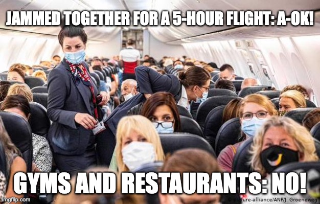 Democrat logic |  JAMMED TOGETHER FOR A 5-HOUR FLIGHT: A-OK! GYMS AND RESTAURANTS: NO! | image tagged in covid-19,government shutdown | made w/ Imgflip meme maker