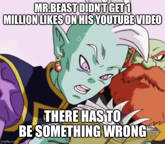MR.BEAST |  MR.BEAST DIDN'T GET 1 MILLION LIKES ON HIS YOUTUBE VIDEO; THERE HAS TO BE SOMETHING WRONG | image tagged in mr beast,memes,dbz | made w/ Imgflip meme maker