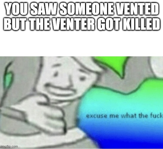 Excuse me wtf blank template |  YOU SAW SOMEONE VENTED BUT THE VENTER GOT KILLED | image tagged in excuse me wtf blank template | made w/ Imgflip meme maker